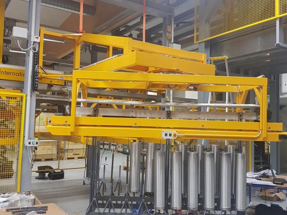 Impianto statico,traslatore sollevatore carico scarico per magazzino telai (1)